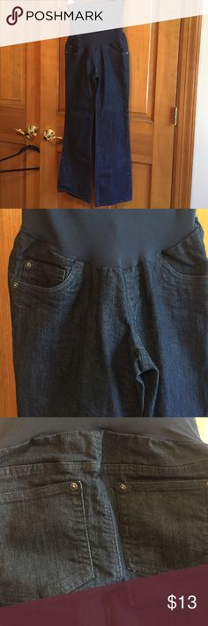 NWOT maternity stretch jeans Dark blue stretch jeans with maternity band. Never worn Indigo Blue Jeans Straight Leg