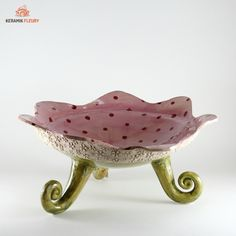 "Keramik Geschirr - Schale ""Rosen"" XL Brotschale"