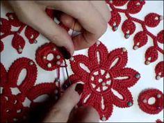 Урок вязания.Как связать цветок крючком с лепестками из гусенички. Irish lace…