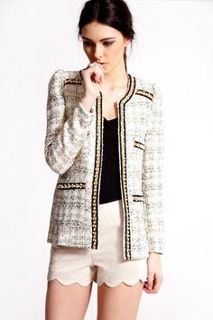 must have! <3  Boutique Grace Boucle Foil Jacket with Pearl Trim