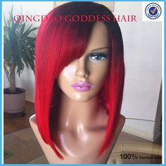 Hot Red Bob Wig brazilian hair red ombre lace front wig full lace human hair wigs 1b/red ali moda hair wigs free shipping