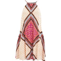 """MINKPINK Women's """"African Trance"""" Apron Neck Swing Dress With Tassle (€74) ❤ liked on Polyvore featuring dresses, vestidos, multi, swing dress, print dress, pink swing dress, sleeveless dress and loose dress"""