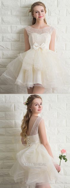Ivory Prom Dresses Cute,Short Homecoming Dresses Lace,Elegant Homecoming Dresses A-line,Cheap Prom Dresses Tulle with Bow