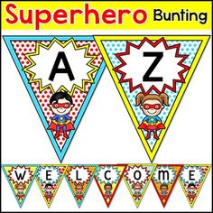 Make fun Superhero theme banners for your classroom with this versatile bunting set! Create any words that you want using the 26 pennants with capital letters of the alphabet. Also included are the numbers 0 to 10 and the characters !, ?, .Note: This product can be purchased as part of my Superhero Classroom Theme Pack at a discount of over 50%!This product includes two types of files:  a PDF file that you can use to print out the letters and numbers,  and a PowerPoint file with 8 blank…
