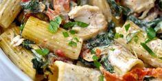 Ριγκατόνι με κοτόπουλο και λιαστή ντομάτα | GASTRONOMIE | iefimerida.gr Pasta Recipes, Potato Salad, Potatoes, Rice, Chicken, Meat, Cooking, Ethnic Recipes, Food