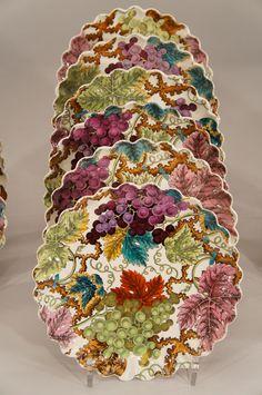Set of 12 Copeland Polychrome Grapes & Vines Dessert Plates - Beautiful for fall!