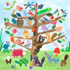 """""""Tree of Life- Critters"""" wall art for kids by Jill McDonald for Oopsy daisy, Fine Art for Kids $139"""