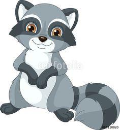 Illustration Of Cute Cartoon Raccoon