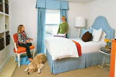 """Tween Dream After - 18 Budget-Friendly Makeovers - Southernliving. With a chic upholstered headboard and matching valance and draperies, homeowner Lee Kleinhelter's stepdaughter, Madison, got a sophisticated bedroom loaded with ideas.Accent with Color: Fabric and furniture in sky blue, orange, and chocolate brown really pop against bright white walls, which visually enlarge the space.Follow the Rules: """"My goal was to make this room useful and stylish,"""" says Lee. """"I'm a fierce editor. My…"""