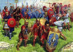 Ejército de la república romana. Se pueden ver Vélites, Triarios, Astatis, Príncipes y hasta un Aquifer.