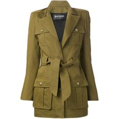 Khaki green cotton military jacket from Balmain featuring a classic collar, peaked lapels, shoulder pads, long sleeves, button cuffs, a snap fastening, a belte…