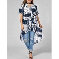 480dee19ab732d Women Plus Size Patchwork Irregular Hem Long Blouse