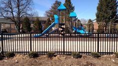 Commercial aluminum fence around playground Aluminum Fence, Playground, Michigan, Commercial, Deck, Yard, Outdoor Decor, Design, Children Playground