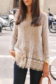 Jewel Neck Lace Splicing Top
