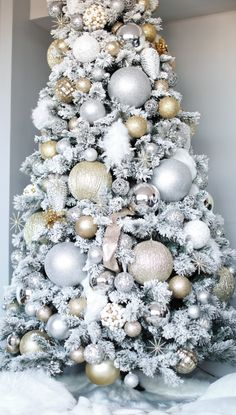 Gold and Silver Flocked Christmas Tree