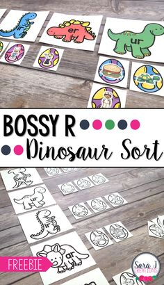 Bossy R Dinosaur Sort is perfect for practicing R controlled vowels with a fun dinosaur theme. This freebie is the perfect activity for first or second grade. Word Study Activities, Vowel Activities, Dinosaur Activities, Reading Activities, Kindergarten Activities, Dinosaur Dinosaur, Phonics Games, Autism Activities, Preschool Printables