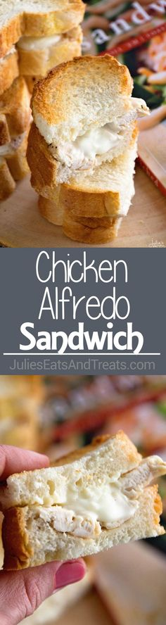 Chicken Alfredo Sandwich Recipe ~ Delicious, Seasoned Chicken Smothered in Homemade Alfredo Sauce then Toasted to Perfection! Quick, Easy and Delicious Dinner or Lunch!