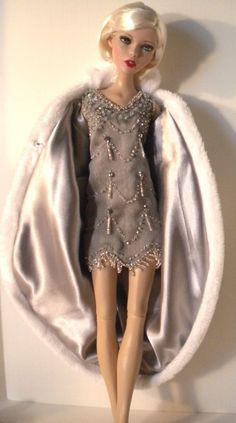 "Beaded 1920's style dress & Cocoon Coat for most 16"" fashion dolls - Samihart"