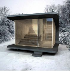 sauna like Russians- get sweaty roll around in the snow warm up again (supposedly good for immune system and invigorates metabolism ) Contemporary Saunas, Modern Saunas, Outdoor Sauna, Sauna Design, Tiny House, Small Buildings, Steam Room, Bungalows, Prefab
