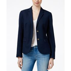 Tommy Hilfiger Two-Button Blazer, ($97) ❤ liked on Polyvore featuring outerwear, jackets, blazers, masters navy, blue jackets, navy jackets, tommy hilfiger, blazer jacket and navy blue jacket