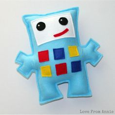 Blue Felt Robot Softie
