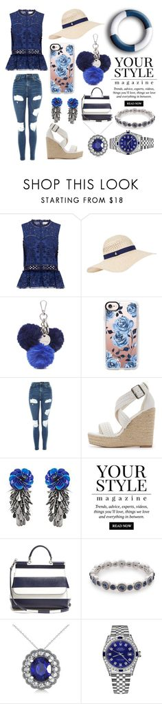 """Blue and White⚪️"" by quinnh-1 ❤ liked on Polyvore featuring Sea, New York, Accessorize, Nine West, Casetify, Topshop, Charlotte Russe, Forest of Chintz, Pussycat, Dolce&Gabbana and Napier"