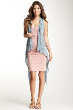 Love Stitch Sleeveless Hooded Draped Front Tape Vest by Non Specific