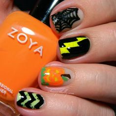 Glow-in-the-dark Halloween skittle nails ~ chevrons and spiderwebs and jack-o-lanterns oh my! | Sassy Shelly  #Halloween #HalloweenNails #Spooky #Nails #NailArt #GlowInTheDark