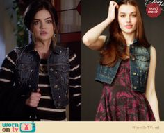 Aria's studded denim vest on Pretty Little Liars.  Outfit Details: http://wornontv.net/33657/ #PLL