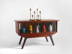 Vintage Wood Display Cabinet - Mid Century Modern, Shelf, Bookshelf, Glass, Retro. $175.00, via Etsy.