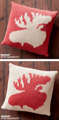 Free Knitting Pattern for Very Amooseing Pillow - Double-sided pillow with moose knit with intarsia. Approx 20″ [51 cm] square. Designed by Bernat Design Studio
