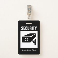 Security company name badge with CCTV camera logo Security Logo, Security Companies, Camera Logo, Name Badges, Personalized Tags, Company Names, Keep It Cleaner, Holiday Cards, Logos