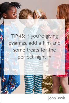 If you're giving pyjamas, add a film and some treats for the perfect night in. Find some some cosy additions and sweet treats at John Lewis, for gifts everyone will love. Girls Shopping, Christmas Presents, Pyjamas, John Lewis, Nightwear, Cosy, Sweet Treats, Gift Ideas, Thoughts