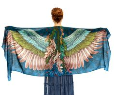 THIS LISTING IS FOR PRE-ORDER- will be shipped in 2-3 WEEKS****  This unique bohemian wings and bird feathers shawl scarf features:  Hand-painted and digitally printed Art of Wide - Spread Wings, this highly detailed representation of Nature, Freedom and Beauty is my Labor of Love. Just put it over your shoulders to look & feel divine. This scarf would make the most amazing gift for your loved ones!  Truly versatile, this scarf looks great paired with any outfit, SO many ways to wear it! ...