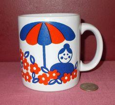 Vintage Ceramic WAECHTERSBACH Orange & Blue BISTRO CAFE MUG CUP #Waechtersbach #FrenchCafeUmbrellaFloral