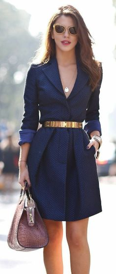 Classy and adorable blue coat-dress with gold belt