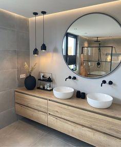 Bathroom Design Inspiration, Home Decor Inspiration, Bathroom Inspo, Cozy Bathroom, Bathroom Black, Decor Ideas, Mirror Bathroom, Bathroom Goals, Bathroom Styling