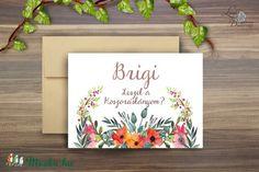 Esküvői meghívó, Esküvői lap, koszorúslány meghívó, Esküvő Képeslap, virágos lap, menyasszony, Esküvő, Naptár, képeslap, album, Meghívó, ültetőkártya, köszönőajándék, Képeslap, levélpapír, Meska Bridesmaid Cards, Bridesmaids, Wedding Cards, Frame, Party, Diy, Home Decor, Wedding Ecards, Picture Frame