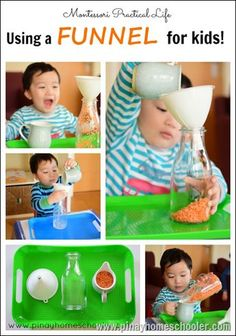 The Use of Funnel for Toddlers Best Picture For Montessori Activities practical life For Your Taste Montessori Trays, Montessori Preschool, Montessori Materials, Toddler Preschool, Montessori Room, Montessori Elementary, Preschool Kindergarten, Toddler Learning Activities, Infant Activities