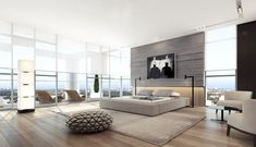 Amazing Spacious Bedroom With Platform Bed And Minimalist Design Also White Bedroom Chair Also Wooden Black Table