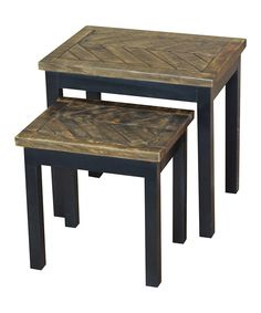 Look at this Black Woven Wood Nesting Table - Set of Two on #zulily today!