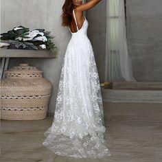 skyfely Elegant White Dress, Beautiful White Dresses, White Dresses For Women, Party Dresses For Women, Elegant Dresses, Summer Dresses, Vacation Dresses, White Lace, Beautiful Ladies