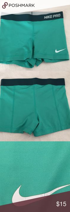 NIKE PRO SHORTS! Turquoise Nike pro shorts! Pretty good quality!! Size small Nike Shorts