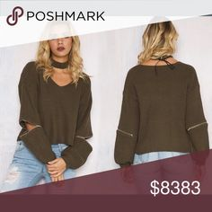COMING SOON🔹The Military Green Edgy Sweater Cotton poly blend🔹Item is new, direct from maker without store tags🔹PLEASE LIKE THIS LISTING FOR ARRIVAL UPDATES. PRICE WILL NOT EXCEED $55. Also available in black. Posh Garden Sweaters V-Necks