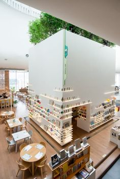 Cafe, bookstore, coworking space and more in this beautifully designed space - Venues - HereNow Bangkok Public Library Design, Bookstore Design, Library Cafe, Cafe Bookstore, Open Library, Library Architecture, Concept Architecture, Interior Architecture, Office Interior Design