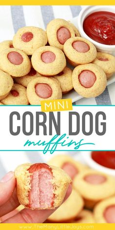 These mini corn dog muffins are the perfect weeknight meal for busy families (and picky eaters). Hearty, kid-pleasing, and super fast to make–a winner of a dinner! - These mini corn dog muffins are the perfect weeknight meal for busy families (and Yummy Recipes, Healthy Recipes, Baby Food Recipes, Snack Recipes, Healthy Cooking, Healthy Food, Easy Cooking, Kid Recipes Dinner, Cooking For Kids