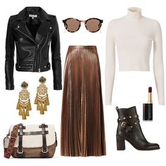 Thanksgiving Glam // Pair a chic metallic skirt with a neutral sweater and top off with a leather jacket for a feminine outfit with a cool twist.
