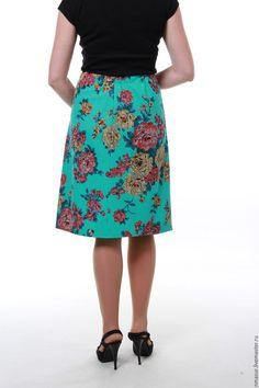 """Купить Юбка трикотажная """"Бирюза и розы"""" - бирюзовый, цветочный, юбка, юбка летняя, юбка в офис"""