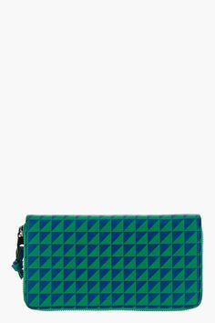 PROENZA SCHOULER Green & Blue Leather Triangle Print Zip-Around Wallet