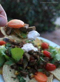 Boar Nachos with Chipotle Crema | In Mama Maggie's Kitchen